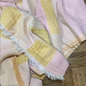 Madewell pink and mustard scarf